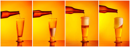 Pouring beer sequence collage Royalty Free Stock Photos