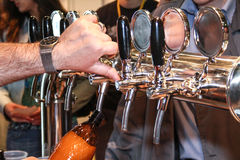 Pouring beer to glass from beer tap Stock Image