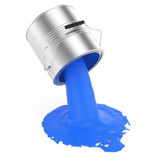 Pouring blue paint. On white. 3d rendered image Stock Image