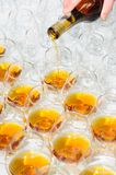 Pouring the brandy or cognac Royalty Free Stock Photography