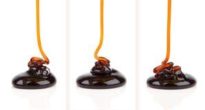 Pouring caramel sauce Royalty Free Stock Photo