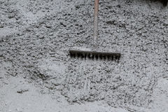 Pouring cement during sidewalk upgrade Royalty Free Stock Images