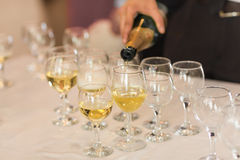 Pouring champagne in flutes standing on table Royalty Free Stock Image