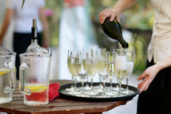 Pouring champagne into a glasses Stock Image