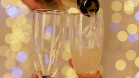 Pouring Champagne to Glasses stock video footage