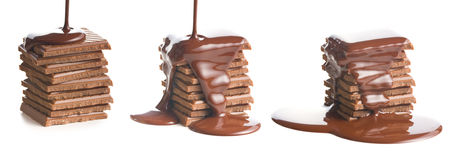 Pouring chocolate on chocolate bar Stock Photography
