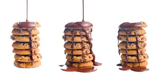 Pouring chocolate on cookies Stock Photos