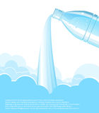 Pouring clean water background.Vector bottle vector illustration