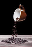 Pouring coffee beans Royalty Free Stock Photos