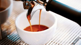 Pouring coffee.coffee machine. stock footage