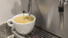 Pouring a coffee espresso on a machine in a white mug Royalty Free Stock Images