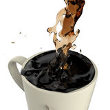 Pouring coffee splashing into red mug Royalty Free Stock Images