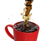 Pouring coffee splashing into red mug Royalty Free Stock Photography