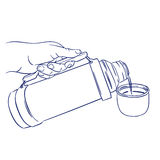 Pouring coffee from thermos. Doodle hand drawn sketch pouring coffee from thermos Stock Photography