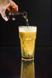 Pouring cold beer. Pouring an ice-cold beer into a glass, isolated against black with reflection Stock Photography