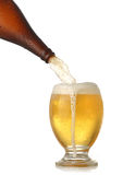 Pouring cold beer into glass Royalty Free Stock Images