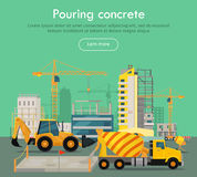 Pouring Concrete Conceptual Flat Vector Web Banner. Pouring concrete conceptual web banner. Concrete mixing truck and loader on building site, buildings and Royalty Free Stock Photo