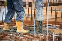 Pouring concrete. Construction site pouring concrete Royalty Free Stock Photos
