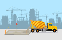 Pouring Concrete on Construction Vector Concept Stock Photography