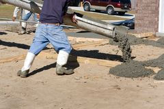 Pouring Concrete Driveway Royalty Free Stock Photos