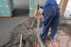 Pouring the concrete floor Royalty Free Stock Photography