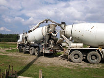 Pouring concrete mixer with pump without pump mixer Royalty Free Stock Photography