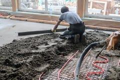 Pouring concrete slab royalty free stock photos