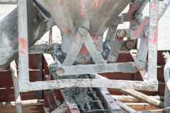 Pouring concrete works at construction site. Thailand royalty free stock images