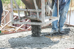 Pouring concrete works at construction site. Thailand stock photography