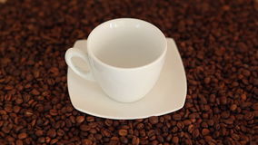 Pouring a cup of fresh hot coffee stock footage