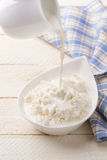 Pouring dairy cream in cottage cheese Stock Photography