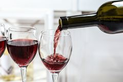 Pouring delicious red wine into glass. On light background stock images