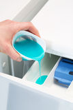 Pouring detergent in washing machine Stock Image