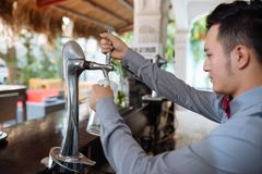 Pouring draft beer Royalty Free Stock Photo