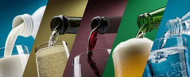 Pouring drinks into glasses photo collection Stock Images
