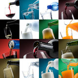 Pouring drinks into glasses photo collection Stock Image