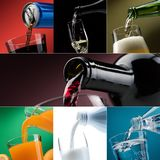 Pouring drinks into glasses photo collection Royalty Free Stock Image