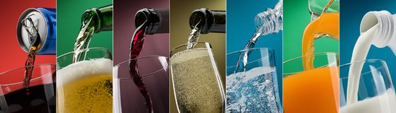 Pouring drinks into glasses photo collection Stock Photography