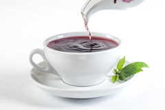 Pouring fresh tea into white cup Royalty Free Stock Photos