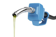 Pouring fuel. With blue pump nozzle, isolated on white background Royalty Free Stock Images