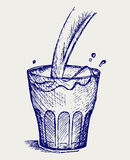 Pouring a glass of milk. Doodle style Stock Photos