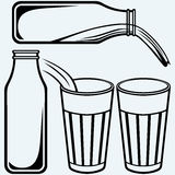 Pouring a glass of milk and milk bottle Stock Image