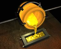 Pouring gold. From a crucible into a mould Royalty Free Stock Images