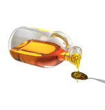 Pouring honey from the bottle to the spoon. 3D Render Pouring honey from the bottle to the spoon on white background Royalty Free Stock Image