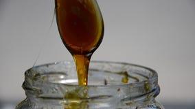 Pouring honey into jar Royalty Free Stock Photos