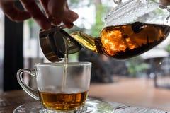 Pouring hot tea. Tea break, pouring tea from pot to cup through filter stock photo