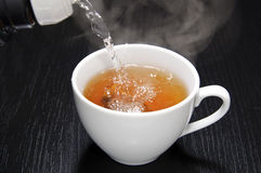 Pouring hot water Stock Images