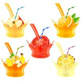 Pouring juice splash with fruits 3d realistic vector set Royalty Free Stock Photo