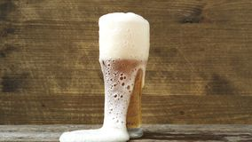 Pouring lager beer with white froth and bubbles in glass mug stock video