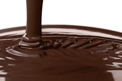 Pouring liquid hot chocolate closeup. Cooking dessert. Stock Images